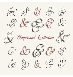 Handdrawn ampersand collection vector