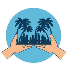Hands with beach cityscape scene vector