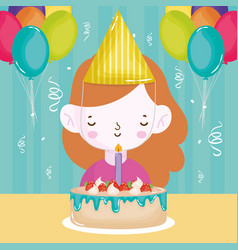 Happy birthday girl with cake candle balloons vector