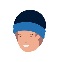 head of man with winter hat avatar character vector image