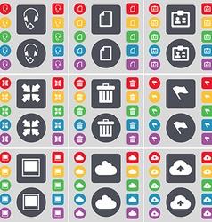 Headphones file contact deploying screen trash can vector