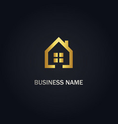 home realty window gold logo vector image
