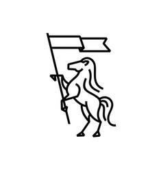 Horse flag monoline logo icon vector