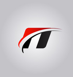initial n letter logo with swoosh colored red and vector image