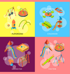 isometric playground objects concept vector image