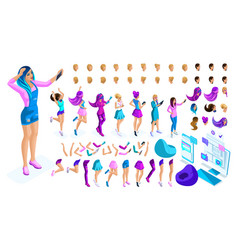 isometrics create your style girl teenager vector image