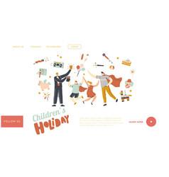Kids amusement show landing page template vector