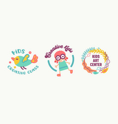 kids creative class art center banners or badges vector image
