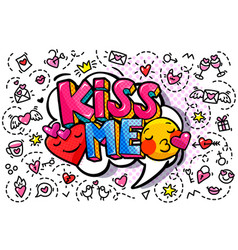 kiss me word bubble vector image