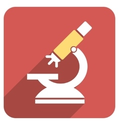 Labs microscope flat rounded square icon with long vector