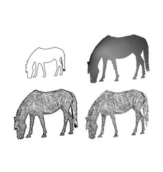 Line art of horse eating grass on white background vector