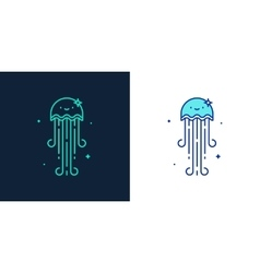 Linear style icon of a jellyfish vector image
