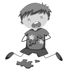 Little boy covered in blood vector image