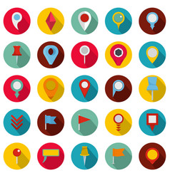 map pointer icons set flat style vector image