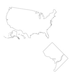 Map united states america and washington vector