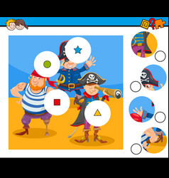 Match pieces puzzle game with pirates vector