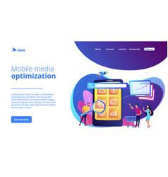 Mobile media optimization concept landing page vector