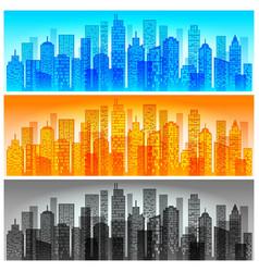 Modern city skyline colored vector