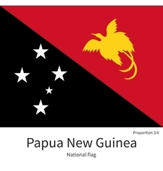 National flag of Papua New Guinea with correct vector image