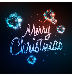 Neon sign Merry christmas and firework vector image