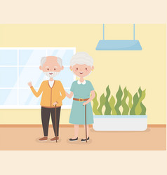 old people happy grandparents together in room vector image