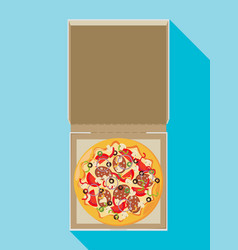 Open pizza box flat style design vector