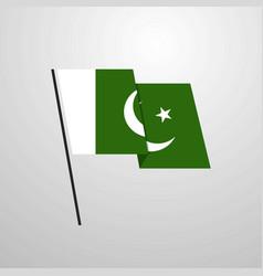 Pakistan waving flag design background vector