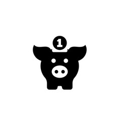 pig money box flat icon vector image
