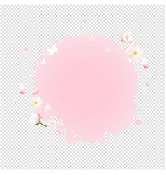 Pink stain with flowers sale banner transparent vector