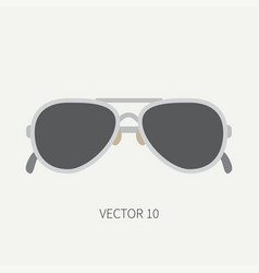 Plain flat color vintage fashion sunglasses vector