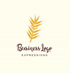 Plant stem logo with typography and light vector