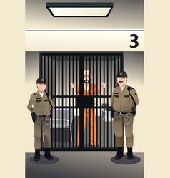 Prisoner in the jail vector