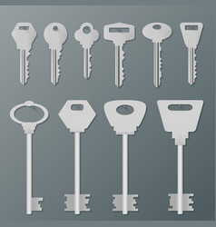 Realistic silver isolated keys on wall vector