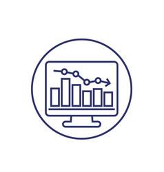 Recession or economic decline line icon vector