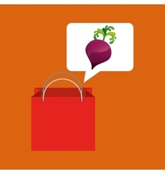 Red bag buying beet vegetable vector