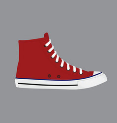 Red sneaker shoe vector