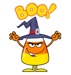 Scaring halloween candy corn with a witch hat vector