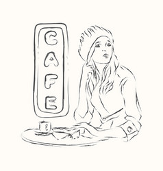 Scetch girl in cafe vector