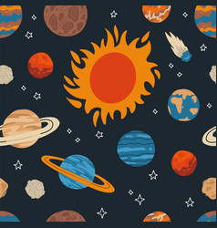 seamless pattern with sum and planet solar vector image