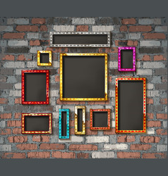 Set color gold vintage frames vector