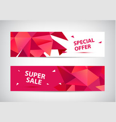 set faceted 3d shape sale banners use vector image