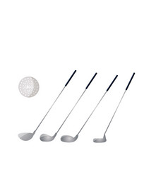 set golf metal sticks with white ball for vector image