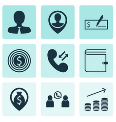Set of 9 hr icons includes phone conference vector