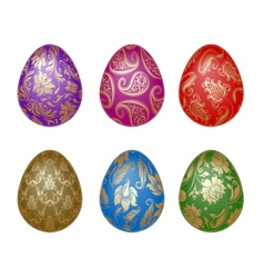 set of easter eggs with ornaments vector image