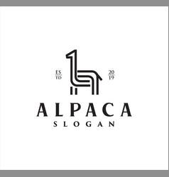 Simple unique llama alpaca logo line art design vector