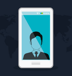 Smartphone with man profile vector