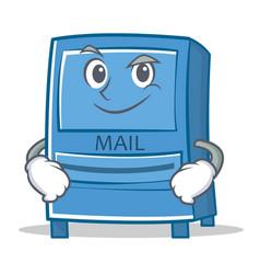 smirking mailbox character cartoon style vector image