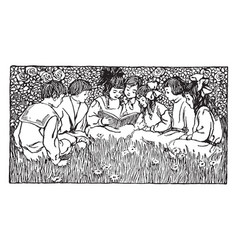 story time seven vintage engraving vector image
