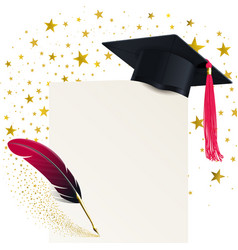 student hat with a red tassel and diploma vector image