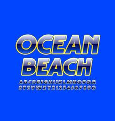 summer banner ocean beach glossy font vector image